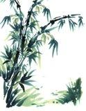 Bambù cinese della pittura della spazzola Fotografia Stock