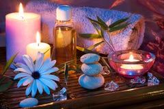 Bambù dell'olio del ghiaccio della pietra della candela della stazione termale Fotografia Stock Libera da Diritti