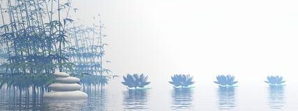 Bambù e fiori del giglio - 3D rendono illustrazione vettoriale
