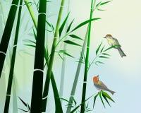 Bambù ed uccelli Immagini Stock