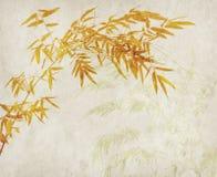 Bambù sulla vecchia carta di lerciume Fotografia Stock Libera da Diritti