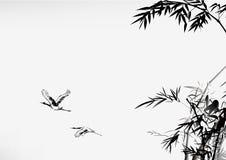 Bambú y grúa del estilo de la tinta Imagenes de archivo
