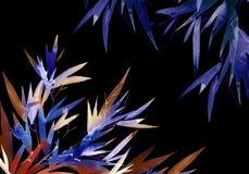 Bambú tropical de neón con las hojas ilustración del vector