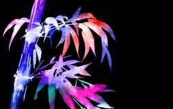 Bambú tropical de neón con las hojas libre illustration