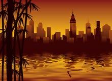 Bambú y ciudad ilustración del vector
