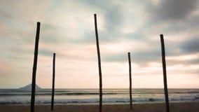 Bambúes que apoyan el cielo en la playa brasileña imágenes de archivo libres de regalías