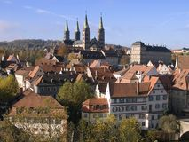 Bamberg. View over the old town of bamberg in germany with the cathedral on top of the hill and the residence on the right royalty free stock photo