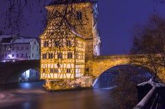 Bamberg, Alemania - ayuntamiento en la oscuridad Fotos de archivo libres de regalías