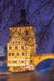 Bamberg bij schemer - Stadszaal Duitsland Stock Fotografie