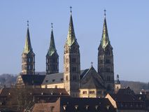 Bamberg cathedral. View over the old town of bamberg in germany with the cathedral on top of the hill stock image