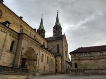 Bamberg Cathedral, side view. High spiers of the cathedral. royalty free stock photo