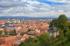 Bamberg cityscape, cloudy top view roofs Stock Photos