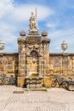 Bamberg, Deutschland Der alte Brunnen auf dem Kathedralen-Quadrat Stockfoto
