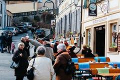 Bamberg, Duitsland - 04 01 2013: meningen van de straten van Bamberg in zonnig weer royalty-vrije stock foto's