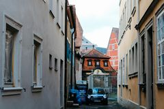 Bamberg, Duitsland - 04 01 2013: meningen van de straten van Bamberg in zonnig weer stock foto's