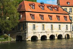 Bamberg Germany. Old German house Bamberg Germany from the River Regnitz Royalty Free Stock Photos