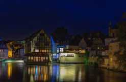 Bamberg, Germany, Bavaria-June 21,2015. Wonderful night type of historical center and river Regnitz royalty free stock photos