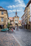 Bamberg, Germany. Carolinenstrasse Street in the historic part of the city. In the background, the Old Town Hall Stock Images