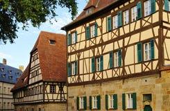 Bamberg halva-timmer hus Arkivfoton
