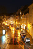 Bamberg Night. Streaked traffic light shot with a long exposure stock image