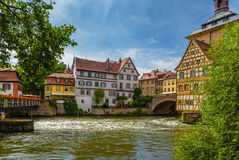 Bamberg. Old buildings on the east bank of the eyelashes. Right - half-timbered Corporal House, 1668 Royalty Free Stock Photos