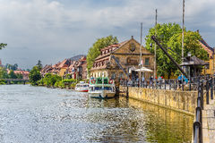 Bamberg. The old slaughterhouse yard, marina Am cranen. In the background, the Little Venice district Stock Photos