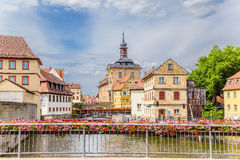 Bamberg. Picturesque views of the Old Town Hall (1461), bridges decorated with flowers and old buildings on the islands Royalty Free Stock Photography
