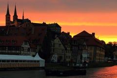 Bamberg am Sonnenuntergang Lizenzfreies Stockfoto