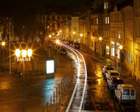Bamberg Traffic. Streaked traffic light shot with a long exposure Stock Photos