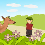Bambi and little Boy Royalty Free Stock Photos