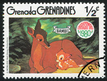 Bambi with Mother. GRENADA - CIRCA 1980: stamp printed by Grenada, shows Walt Disney characters, Bambi, circa 1980 Royalty Free Stock Images