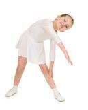 Bambina in abito di palla bianco Immagini Stock