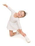 Bambina in abito di palla bianco Fotografia Stock