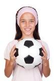 Bambina adorabile con la sfera di calcio Fotografie Stock Libere da Diritti