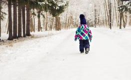 Bambina adorabile divertendosi il giorno di inverno Fotografie Stock Libere da Diritti