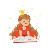 Bambina adorabile in una corona ed in un vestito rosso che leggono un libro, immaginazione dei bambini e fantasia, vettore variop illustrazione vettoriale