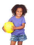Bambina africana adorabile con l'aerostato giallo Fotografia Stock Libera da Diritti