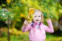 Bambina alla sosta di autunno Fotografia Stock Libera da Diritti