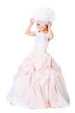 Bambina in attrezzatura splendida sopra bianco Fotografie Stock