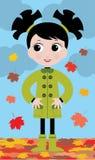 Bambina in autunno sulla camminata royalty illustrazione gratis