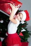 Bambina bella a tempo di natale Fotografie Stock Libere da Diritti