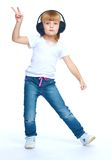 Bambina in blue jeans Fotografia Stock