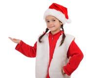 Bambina in cappello di natale Immagini Stock