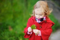Bambina in cappotto rosso luminoso all'autunno Immagini Stock Libere da Diritti