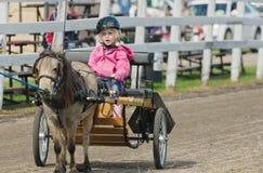 Bambina in carretto miniatura del cavallo alla fiera paesana fotografia stock libera da diritti