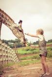 Bambina che alimenta una giraffa allo zoo Fotografie Stock