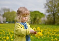 Bambina che cammina nel parco, primavera Immagini Stock