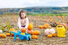 Bambina che coltiva sulla toppa della zucca Fotografie Stock Libere da Diritti