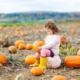 Bambina che coltiva sulla toppa della zucca Fotografie Stock