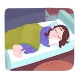 Bambina che dorme nella sua base Immagini Stock